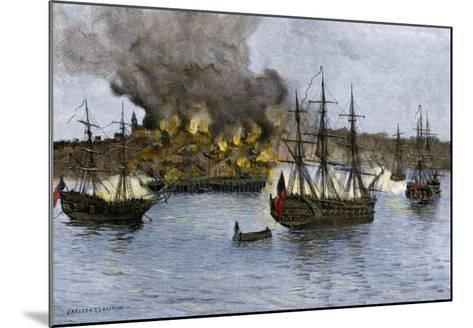 Destruction of Falmouth, Maine by Artillery Fire from British Ships, October 1775--Mounted Giclee Print