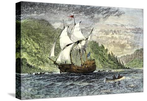 Henry Hudson's Ship, Half-Moon, Ascending the Hudson River, c.1609--Stretched Canvas Print