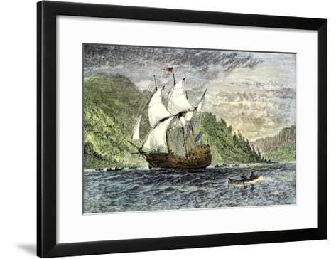 Henry Hudson's Ship, Half-Moon, Ascending the Hudson River, c.1609--Framed Art Print