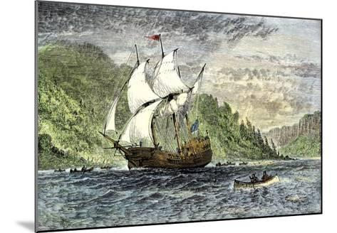 Henry Hudson's Ship, Half-Moon, Ascending the Hudson River, c.1609--Mounted Giclee Print