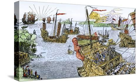 Ships of Marco Polo on the Mediterranean Sea, c.1300--Stretched Canvas Print