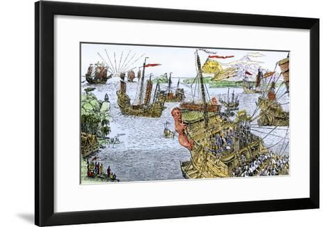 Ships of Marco Polo on the Mediterranean Sea, c.1300--Framed Art Print