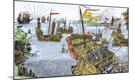 Ships of Marco Polo on the Mediterranean Sea, c.1300--Mounted Giclee Print
