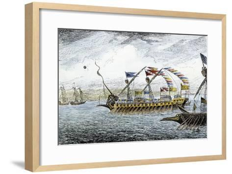 Marco Polo Leading the Venetian Ships at Korcula in the Adriatic Sea--Framed Art Print
