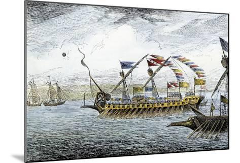 Marco Polo Leading the Venetian Ships at Korcula in the Adriatic Sea--Mounted Giclee Print