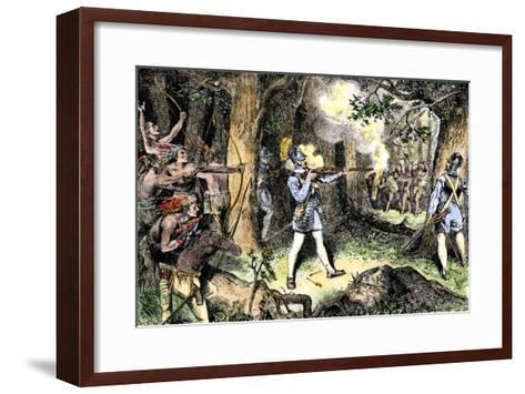 Samuel de Champlain and His Huron Indian Allies Fighting the Iroquois Near Lake Champlain, c.1609--Framed Art Print