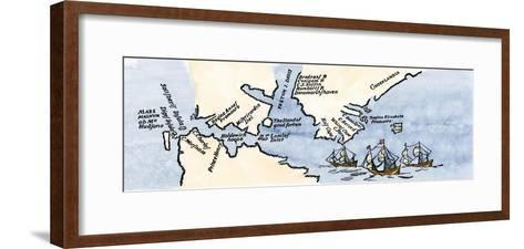 Hudson's Map of His Voyages in the Arctic, Published in 1612--Framed Art Print