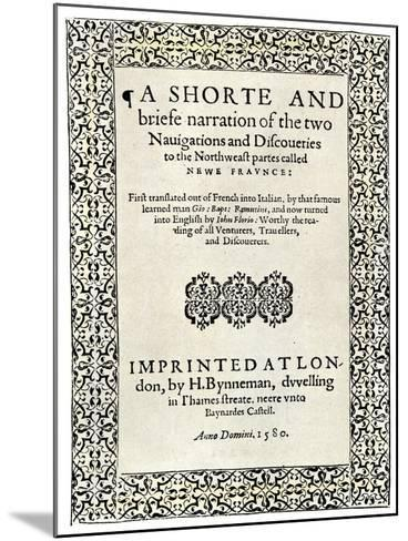 Title Page of Jacques Cartier's Book about His Discoveries in Canada, c.1580--Mounted Giclee Print
