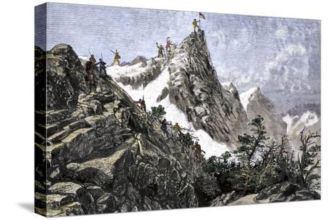 John C. Freemont Planting the U.S. Flag on the Colorado Rockies, c.1842--Stretched Canvas Print