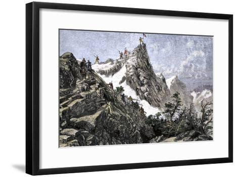 John C. Freemont Planting the U.S. Flag on the Colorado Rockies, c.1842--Framed Art Print