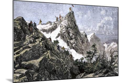John C. Freemont Planting the U.S. Flag on the Colorado Rockies, c.1842--Mounted Giclee Print