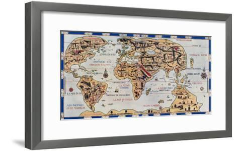 Dauphin Map by Pierre Desceliers Made for Prince Henry, c.1546--Framed Art Print