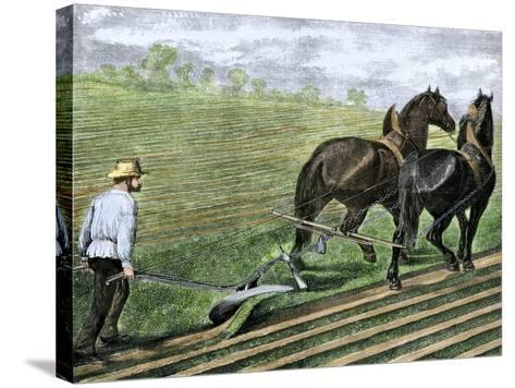 Farmer Plowing Sod with a Team of Horses, c.1800--Stretched Canvas Print