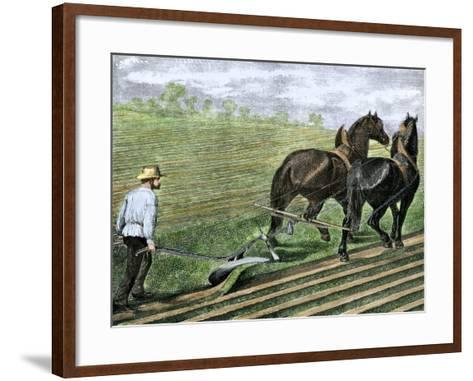 Farmer Plowing Sod with a Team of Horses, c.1800--Framed Art Print
