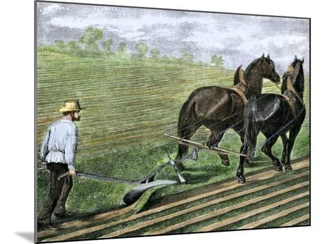 Farmer Plowing Sod with a Team of Horses, c.1800--Mounted Giclee Print