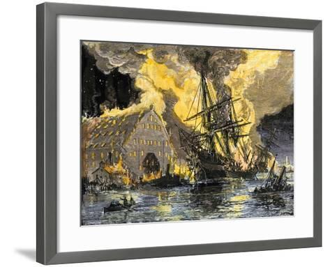 U.S. Frigate, Merrimac, on Fire during Confederate Burning of Gosport Navy Yard, Virginia, c.1862--Framed Art Print