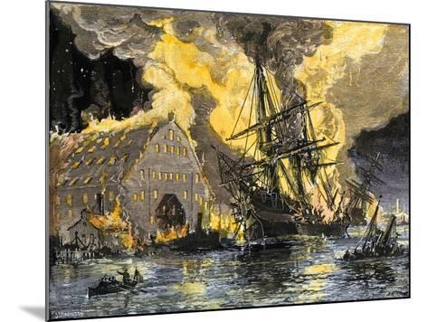 U.S. Frigate, Merrimac, on Fire during Confederate Burning of Gosport Navy Yard, Virginia, c.1862--Mounted Giclee Print