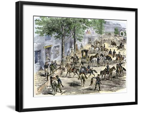Confederate Cavalry Ransacking New Windsor, Maryland, during the Civil War--Framed Art Print