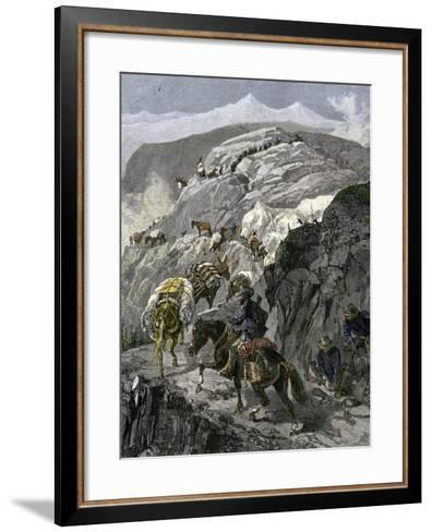 General Oliver Otis Howard Pursuing the Nez Perce Tribe on the Dead Mule Trail in Idaho, c.1877--Framed Art Print