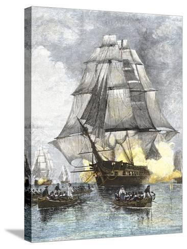 USS Constitution Being Towed in Rowboats Away from the Becalmed British Navy, War of 1812--Stretched Canvas Print