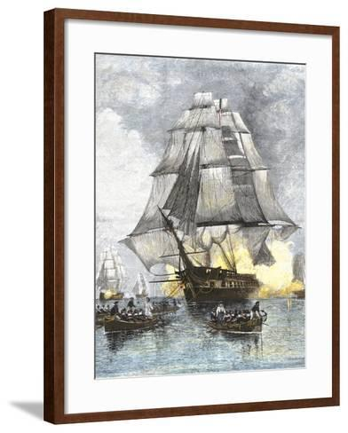 USS Constitution Being Towed in Rowboats Away from the Becalmed British Navy, War of 1812--Framed Art Print