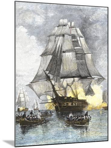 USS Constitution Being Towed in Rowboats Away from the Becalmed British Navy, War of 1812--Mounted Giclee Print