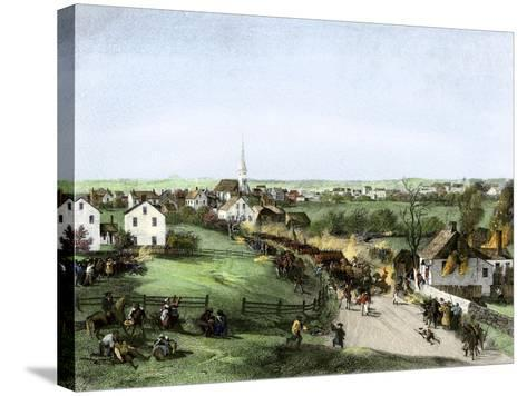 Retreat of the British from Concord, Massachusetts, at the Outset of the American Revolution--Stretched Canvas Print