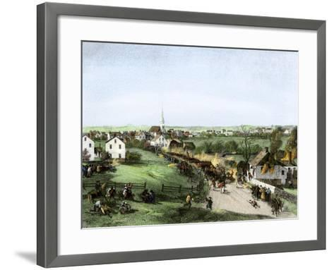Retreat of the British from Concord, Massachusetts, at the Outset of the American Revolution--Framed Art Print