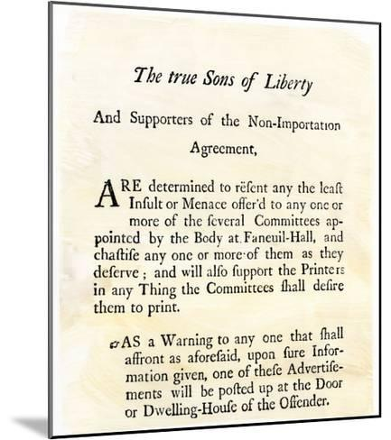 Sons Of Liberty Handbill Supporting Boycott Of British Goods In