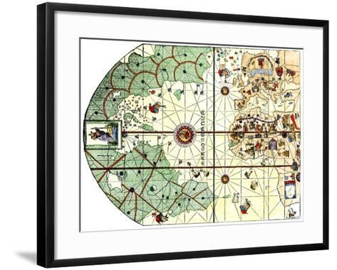 Map of the Atlantic with the New World Coast, Drawn in 1500 by Juan de la Cosa, Columbus' Pilot--Framed Art Print