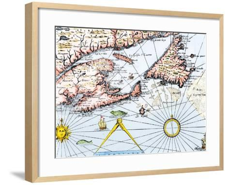 Samuel de Champlain's Map of the Gaspee and Gulf of the Saint Lawrence River, c.1632--Framed Art Print