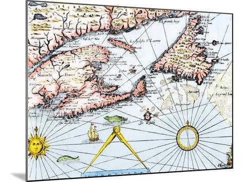 Samuel de Champlain's Map of the Gaspee and Gulf of the Saint Lawrence River, c.1632--Mounted Giclee Print