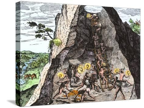 Natives Working in the Spanish Mines of Mexico--Stretched Canvas Print