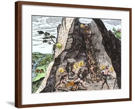 Natives Working in the Spanish Mines of Mexico--Framed Art Print