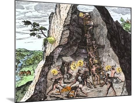 Natives Working in the Spanish Mines of Mexico--Mounted Giclee Print