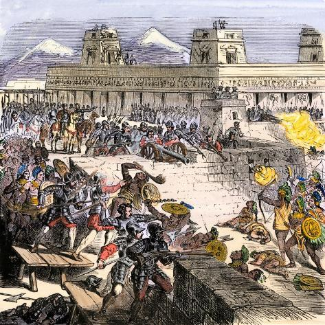 Spanish Invaders Attacked by the Aztecs in Tenochtitlan during la Noche Triste, c.1520--Stretched Canvas Print