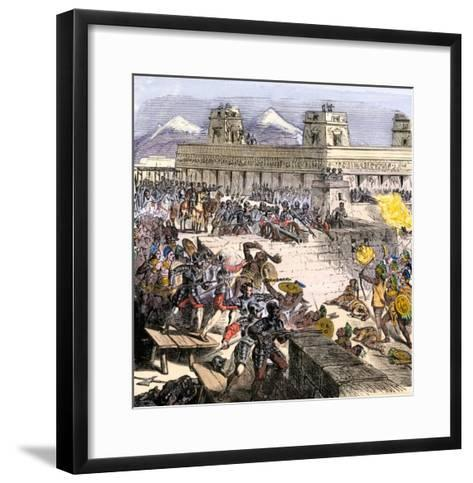 Spanish Invaders Attacked by the Aztecs in Tenochtitlan during la Noche Triste, c.1520--Framed Art Print