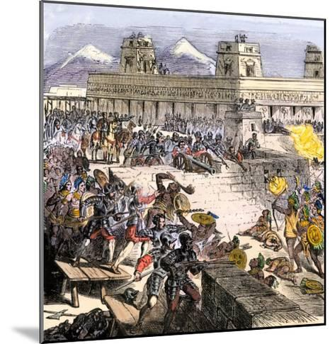 Spanish Invaders Attacked by the Aztecs in Tenochtitlan during la Noche Triste, c.1520--Mounted Giclee Print