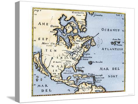 Map of North America, 17th Century--Stretched Canvas Print