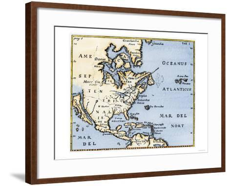 Map of North America, 17th Century--Framed Art Print