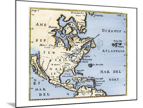 Map of North America, 17th Century--Mounted Giclee Print