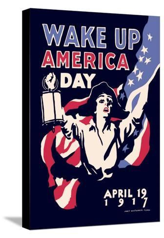 Wake Up America Day-James Montgomery Flagg-Stretched Canvas Print