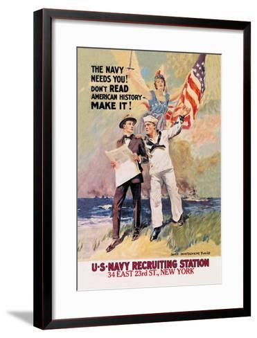 The Navy Needs You-James Montgomery Flagg-Framed Art Print