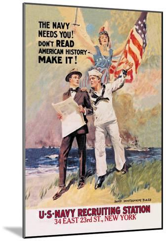 The Navy Needs You-James Montgomery Flagg-Mounted Art Print
