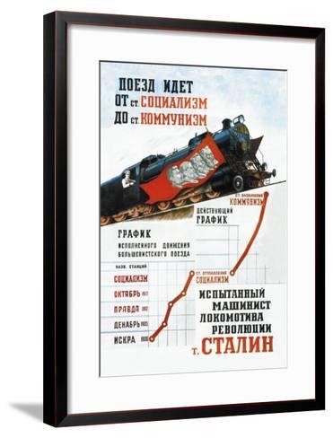Train is Moving from the Socialist Station-Pavel Sokolov-skalya-Framed Art Print