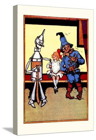 Tin Man, Dorothy and Scarecrow-John R^ Neill-Stretched Canvas Print