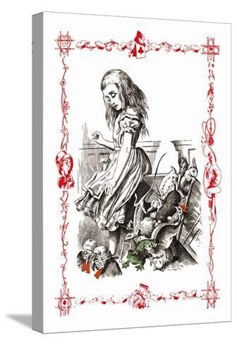 Alice in Wonderland: Alice Tips over the Jury Box-John Tenniel-Stretched Canvas Print