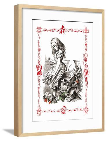 Alice in Wonderland: Alice Tips over the Jury Box-John Tenniel-Framed Art Print