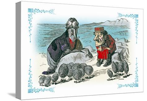Through the Looking Glass: Walrus, Carpenter and Oysters-John Tenniel-Stretched Canvas Print