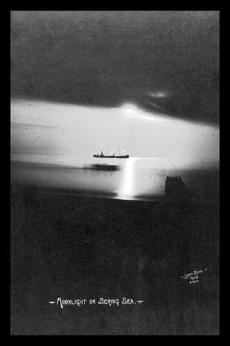 Moonlight on the Bering Sea- Lomen Brothers-Stretched Canvas Print